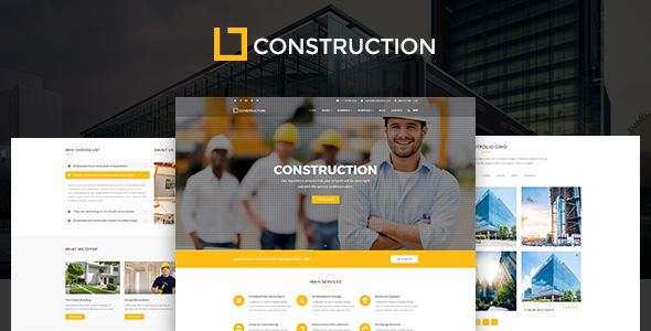 Construction - Construction Company, Building Company Template - Business Corporate