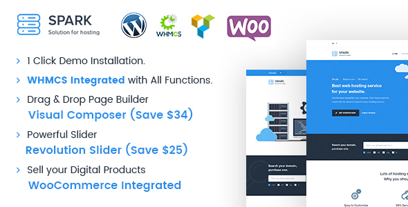 Image of Spark - Responsive WHMCS Hosting WordPress Theme