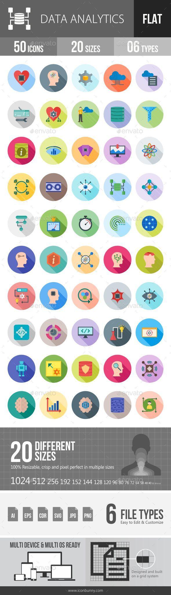 Data Analytics Flat Shadowed Icons - Icons