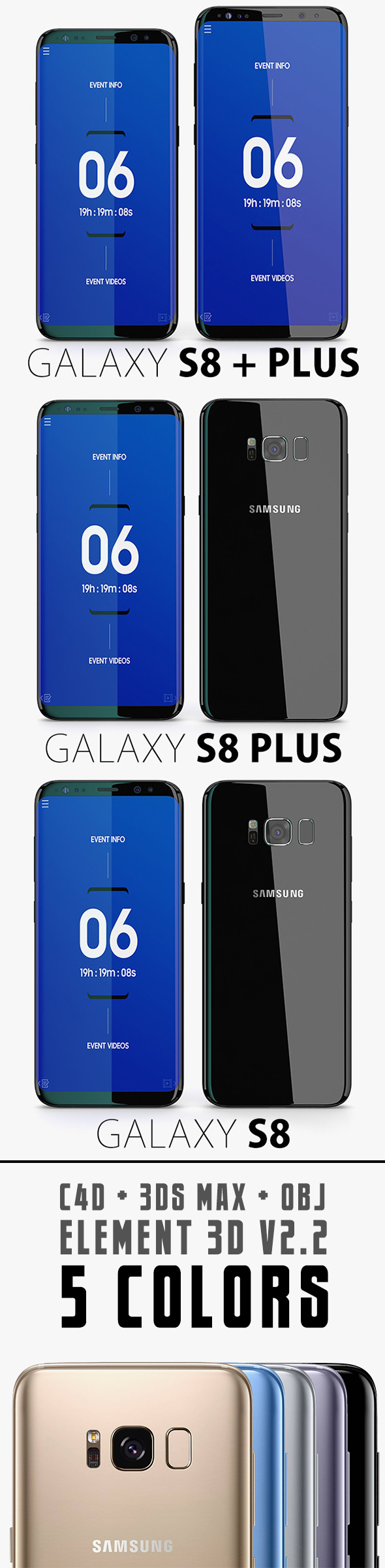 Samsung galaxy j7 for element 3d - Element 3d V2 2 Samsung Galaxy S8 S8 Plus All Colors 3docean