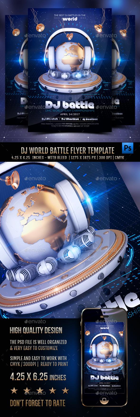 DJ World Battle Flyer Template - Clubs & Parties Events
