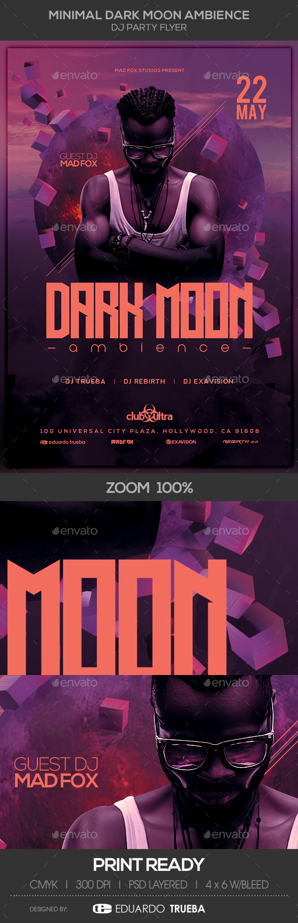 Minimal Dark Moon Ambience Dj Party Flyer - Clubs & Parties Events