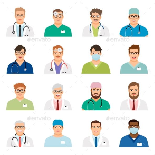 Medicine Physician Men Face Portrait Icons - Health/Medicine Conceptual