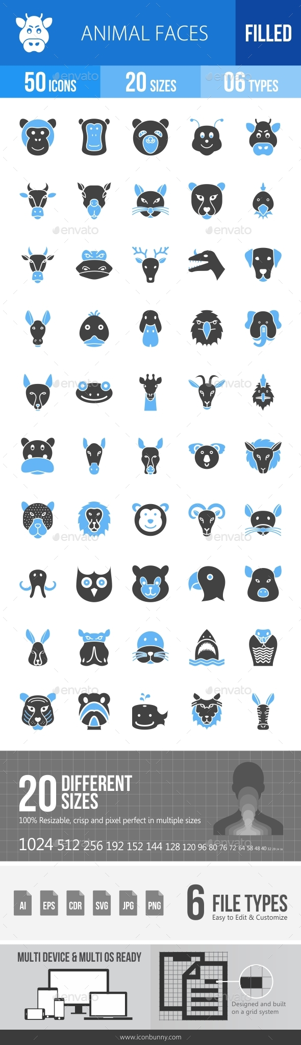 Animal Faces Blue & Black Icons - Icons
