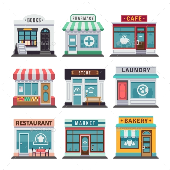 Modern Fast Food Restaurant and Shop Buildings - Buildings Objects