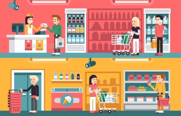 Shopping People and Counter in Super Market - Food Objects
