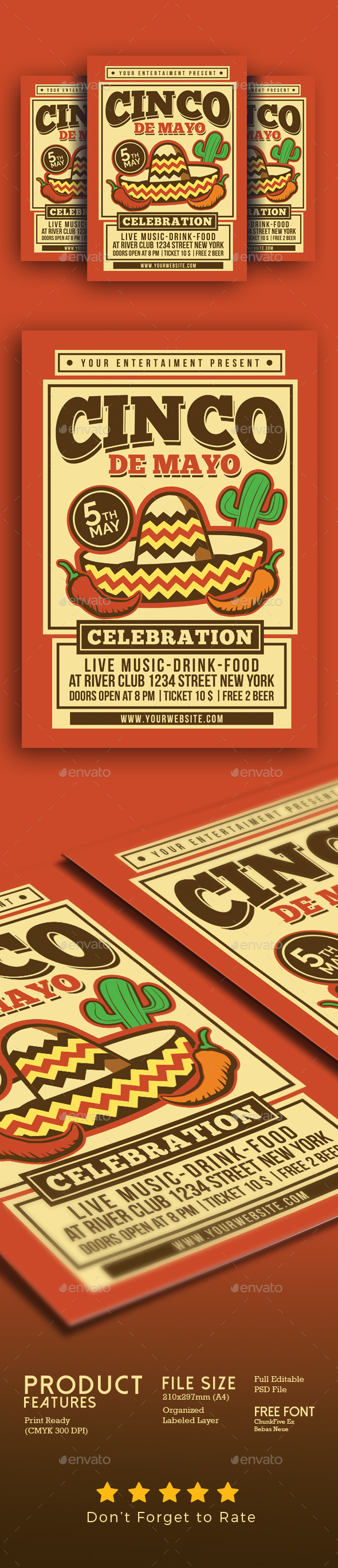 Cinco De Mayo Celebration Flyer - Events Flyers