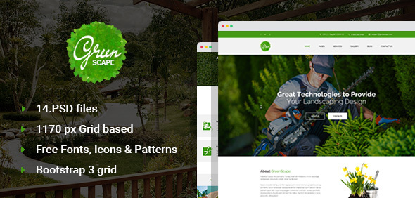 Greenscape - Lawn & Garden Landscaping PSD template - Business Corporate