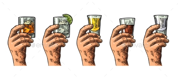 Male Hand Holding Glasses with Liquor - Miscellaneous Vectors