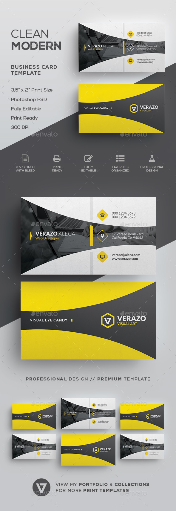 Clean Modern Business Card Template - Corporate Business Cards