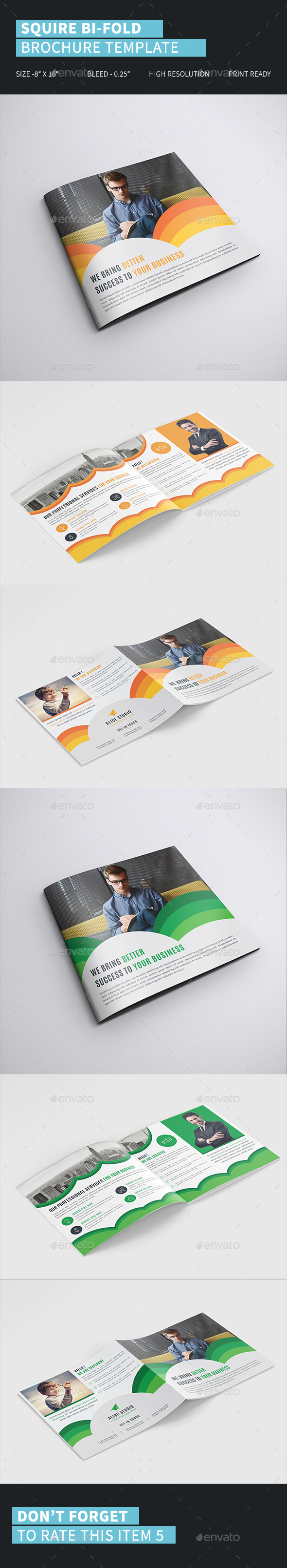 Squire Bi-Fold Brochure Template - Corporate Brochures