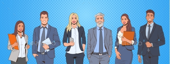 Successful Business Man and Woman Over Pop Art - People Characters