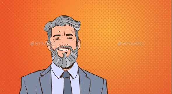 Senior Business Man Boss Portrait Over Pop Art - People Characters