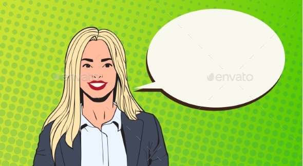 Young Business Woman With Chat Bubble Pop Art - People Characters