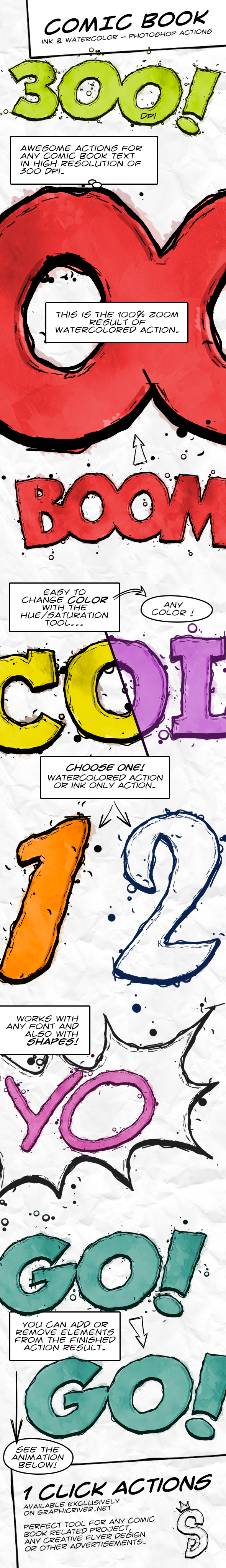 Comic Book Ink Actions - 300 DPI - Text Effects Actions