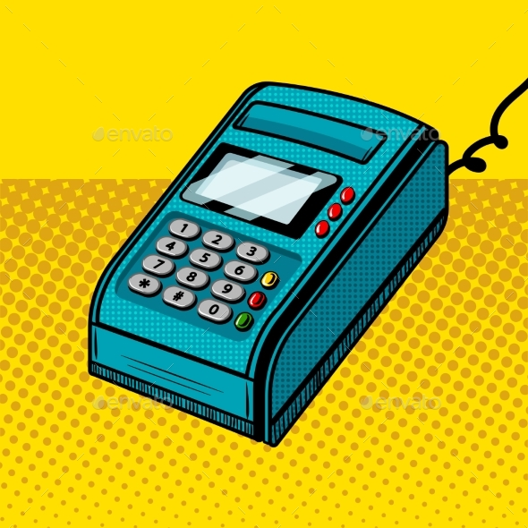Payment Terminal Comic Book Style Vector - Man-made Objects Objects