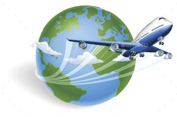 Airplane Globe Concept - Travel Conceptual