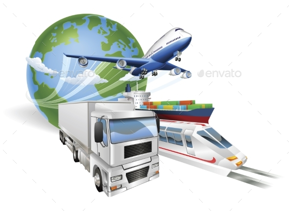 Global Logistics Concept Airplane Truck Train Ship - Travel Conceptual