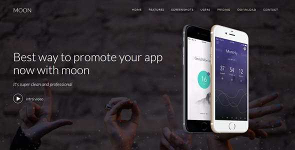 Moon - Responsive App Landing Template - Technology Site Templates