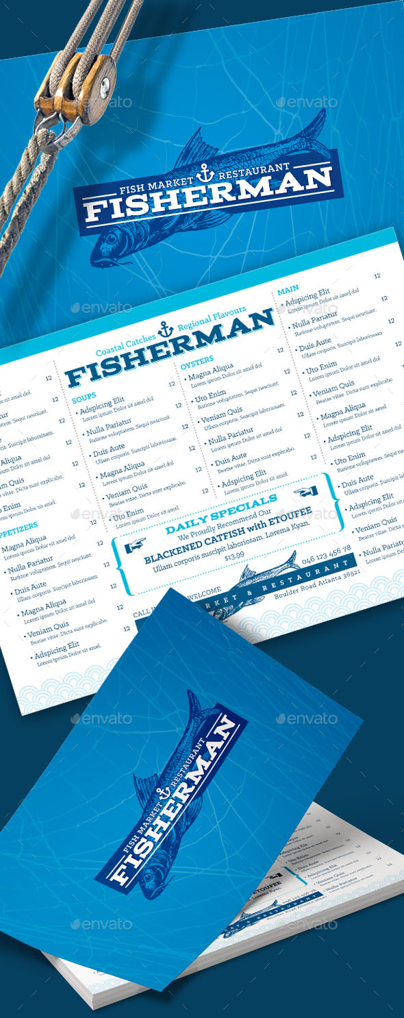 Seafood Restaurant Menu - Food Menus Print Templates