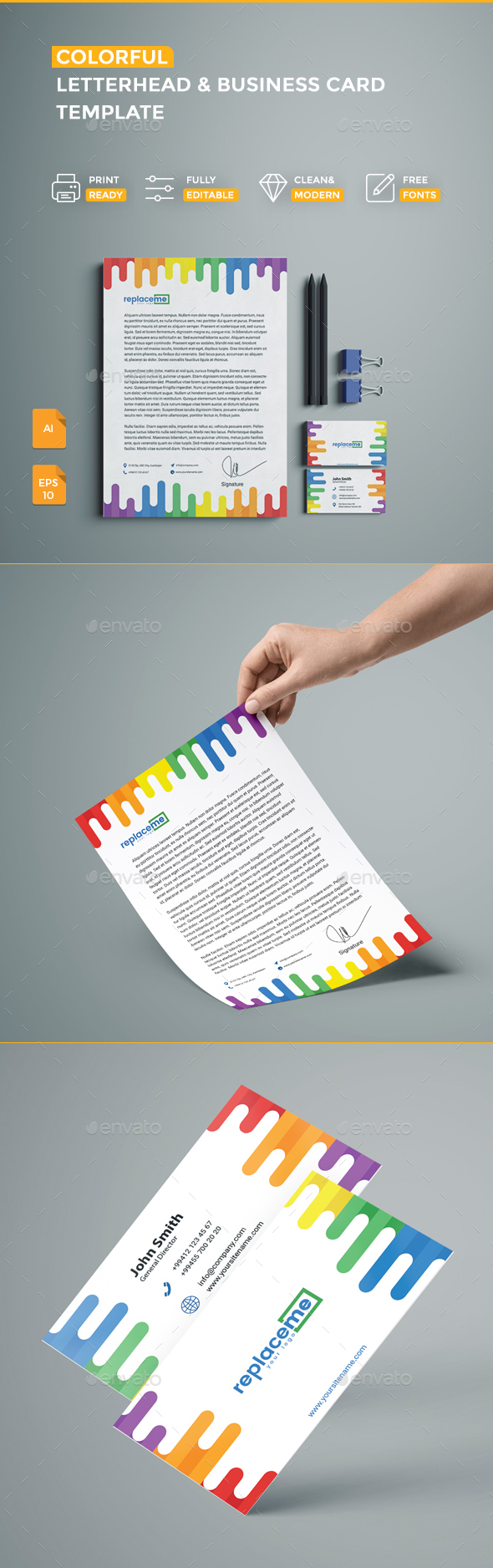 Colorful Business Card & Letterhead - Business Cards Print Templates