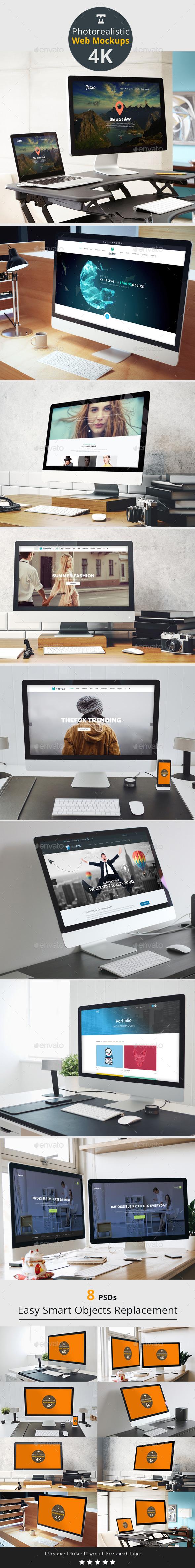 Photo-realistic Responsive Web Mockups 4K - Monitors Displays