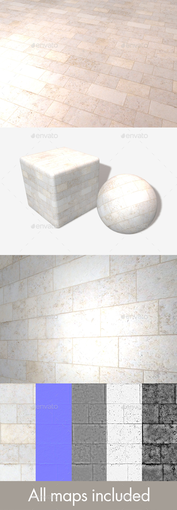 Marble Bricks Seamless Texture - 3DOcean Item for Sale