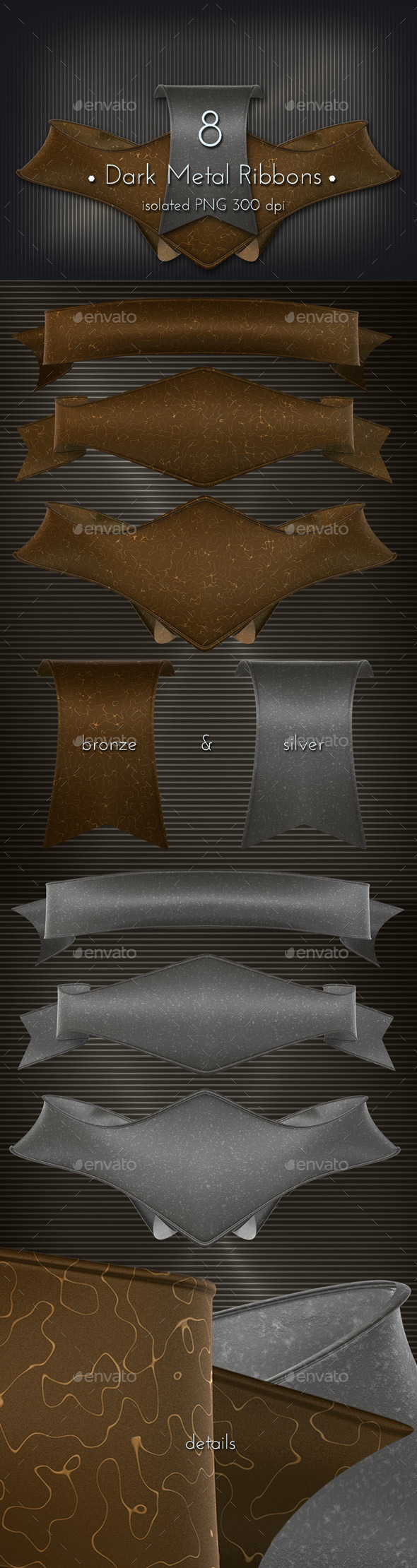 Dark Metal Ribbon - 3D Backgrounds