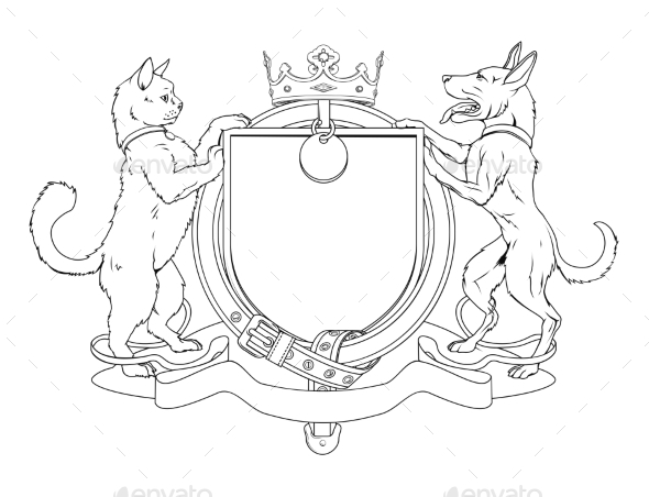 Cat and Dog Pets Heraldic Shield Coat of Arms - Miscellaneous Vectors
