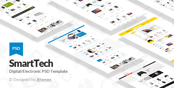 Smart Tech - Ecommerce with 17 Home Versions PSD Template - Shopping Retail