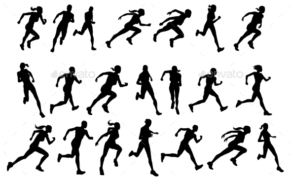 Runners Running Silhouettes - Sports/Activity Conceptual