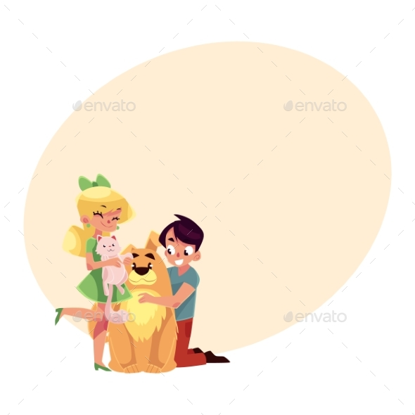 Two Kids Hugging Pets - Animals Characters