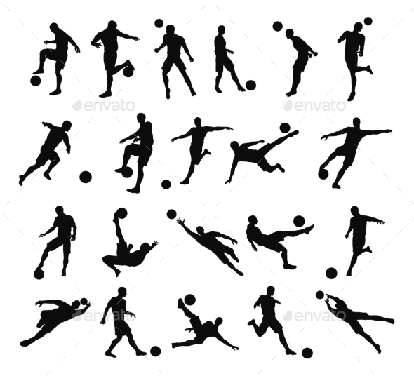 Soccer Football Player Silhouettes - Sports/Activity Conceptual
