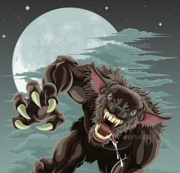 Werewolf Moon Illustration - Monsters Characters