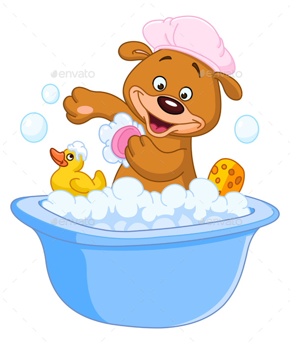 Teddy Bear Taking a Bath - Animals Characters