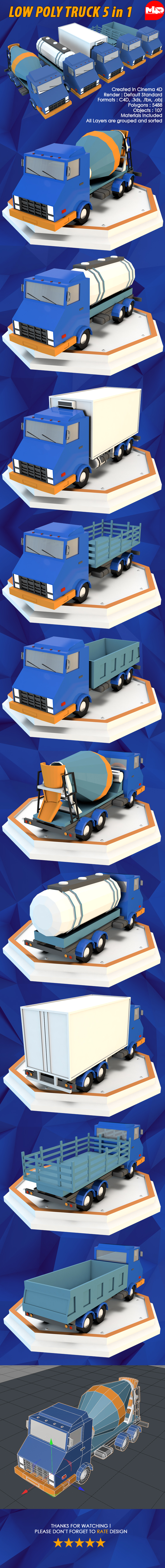 Low Poly Truck 5 in 1 - 3DOcean Item for Sale