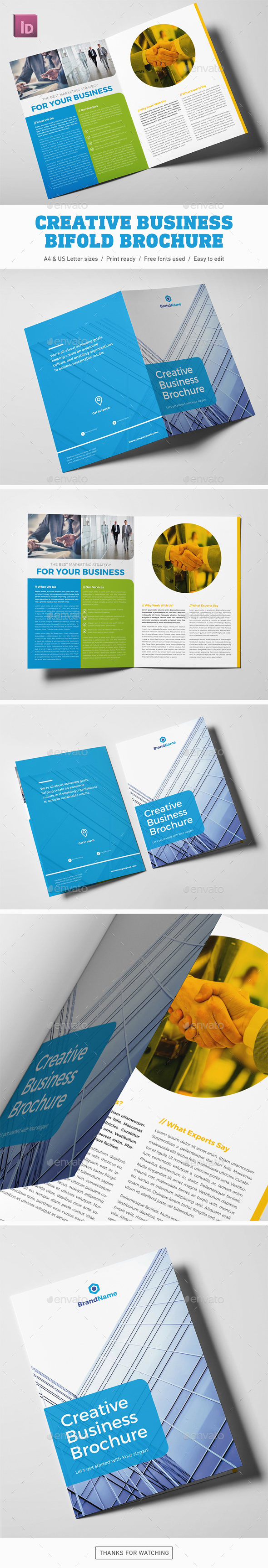 Creative Business Bifold Brochure - Corporate Brochures