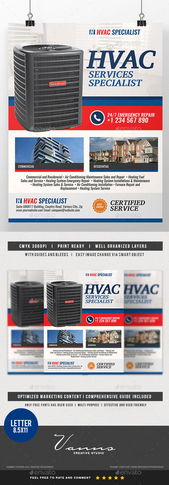 Heating and Cooling Services Flyer - Commerce Flyers