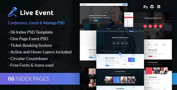 Live Event - Conference, Event & Meetup PSD Template - Events Entertainment