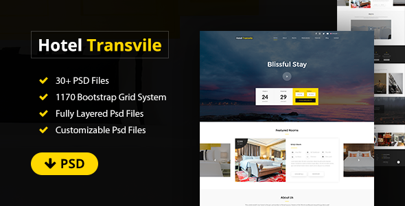 Transvile Hotel PSD Template - Restaurants & Cafes Entertainment