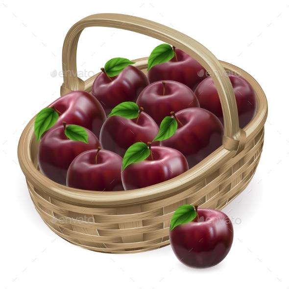 Red Apple Basket Illustration - Food Objects