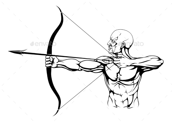 Black and White Archer Illustration - Sports/Activity Conceptual