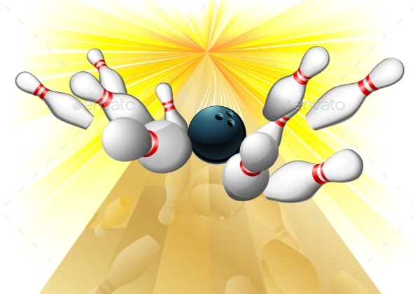 Bowling Ball Hitting Pins - Sports/Activity Conceptual