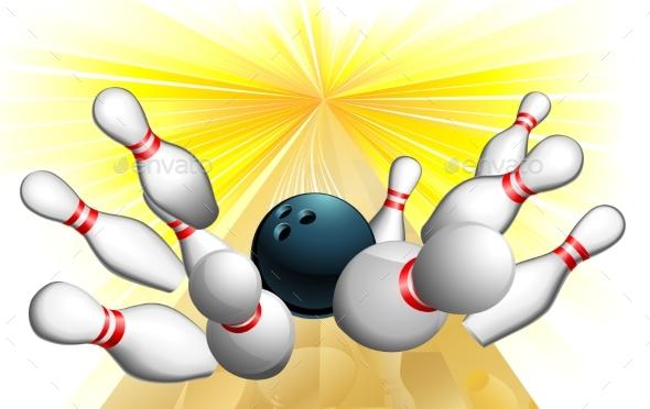 Bowling Ball Strike - Sports/Activity Conceptual