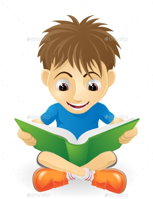 Young Boy Reading - People Characters