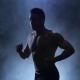 Silhouette Sportsman Run on Black Backround. Isolated Smoky Studio