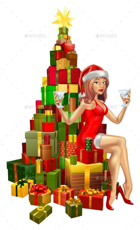 Woman Santa on Stack of Gifts - Christmas Seasons/Holidays