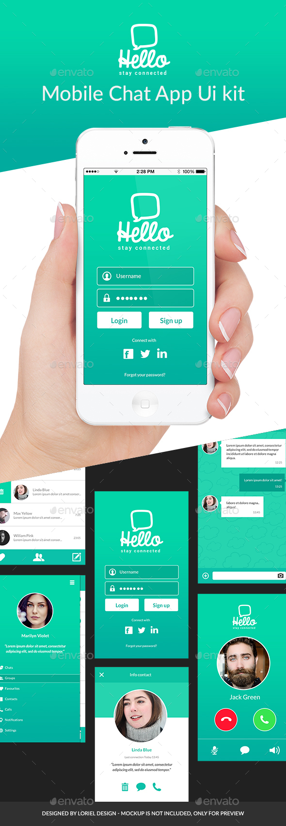 Hello - Mobile Chat App Ui kit - User Interfaces Web Elements