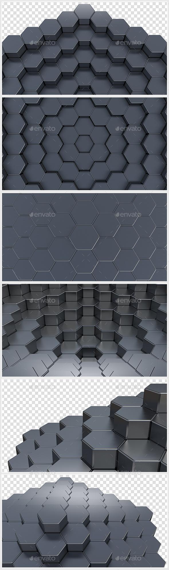3D Hexagons - 3D Backgrounds