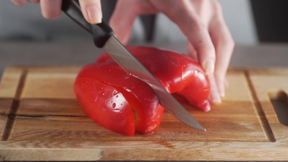 VideoHive Chef Cuts Peppers for Making Vegetable Dish Fresh Vegetable Salad Healthy Cooking at Home Fresh 19708422